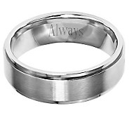 Stainless Steel 7mm Ridged Edge Brushed & Polished Ring - J314234