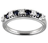 Blue Sapphire & Diamond Accent Band Ring, Sterling - J314934