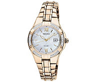 Seiko Womens Goldtone Diamond Accent Watch - J315434