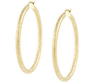 Veronese Sterling & 18K Clad 1-3/4 Textured Hoop Earrings - J315634
