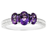 Sterling Three-Stone Gemstone & 1/10 cttw Diamond Ring - J315934
