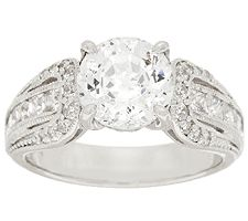 Epiphany Diamonique 100-Facet Round Stone Ring