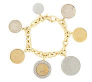 As Is Veronese 18K Clad 6-3/4 Lire Coin Charm Rolo Bracelet - J319334
