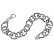 Vicenza Silver Sterling 7-1/4 Ribbed Rolo Link Bracelet, 18.5g - J320334