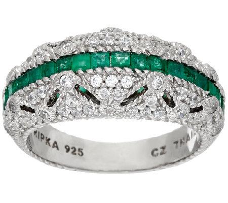 judith ripka sterling diamonique emerald ring qvc