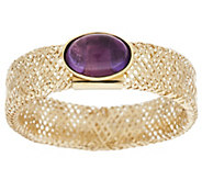 As Is 14K Gold Oval Cabochon Gemstone Mesh Stretch Ring - J322034
