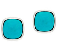 Turquoise Sterling Silver Oval or Cushion Shape Stud Earrings - J322434