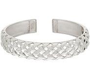 Michael Dawkins Sterling Silver Basket Weave Texture Hinged Cuff Bracelet - J323134