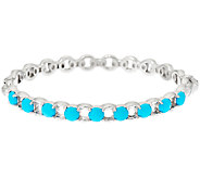Sleeping Beauty Turquoise Sterling Status Link Hinged Bangle Bracelet - J323234