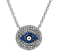 "Stainless Steel Crystal Evil Eye Necklace w/ 2"" Extender"