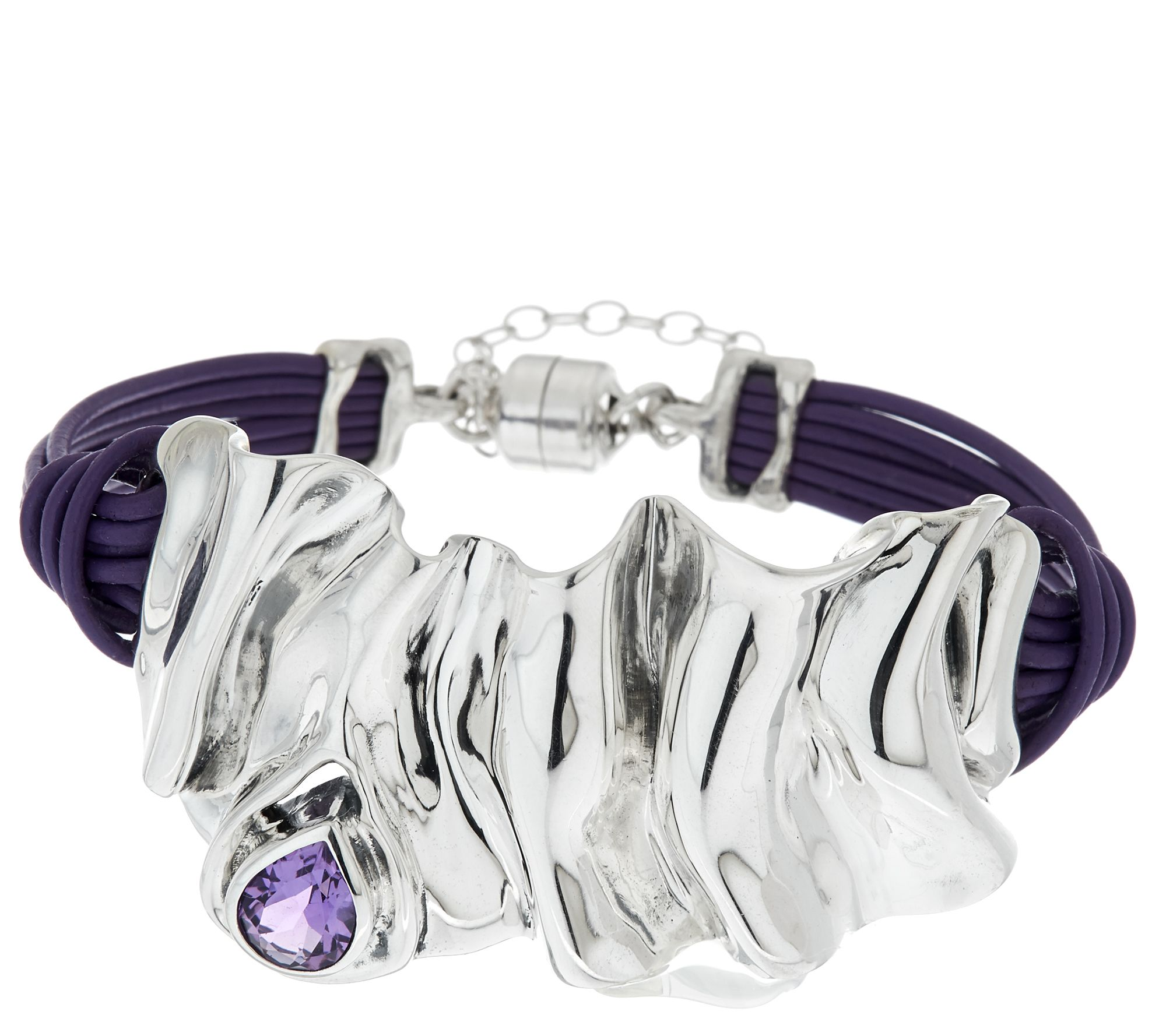 Hagit Sterling Silver Folds Leather Gemstone Bracelet