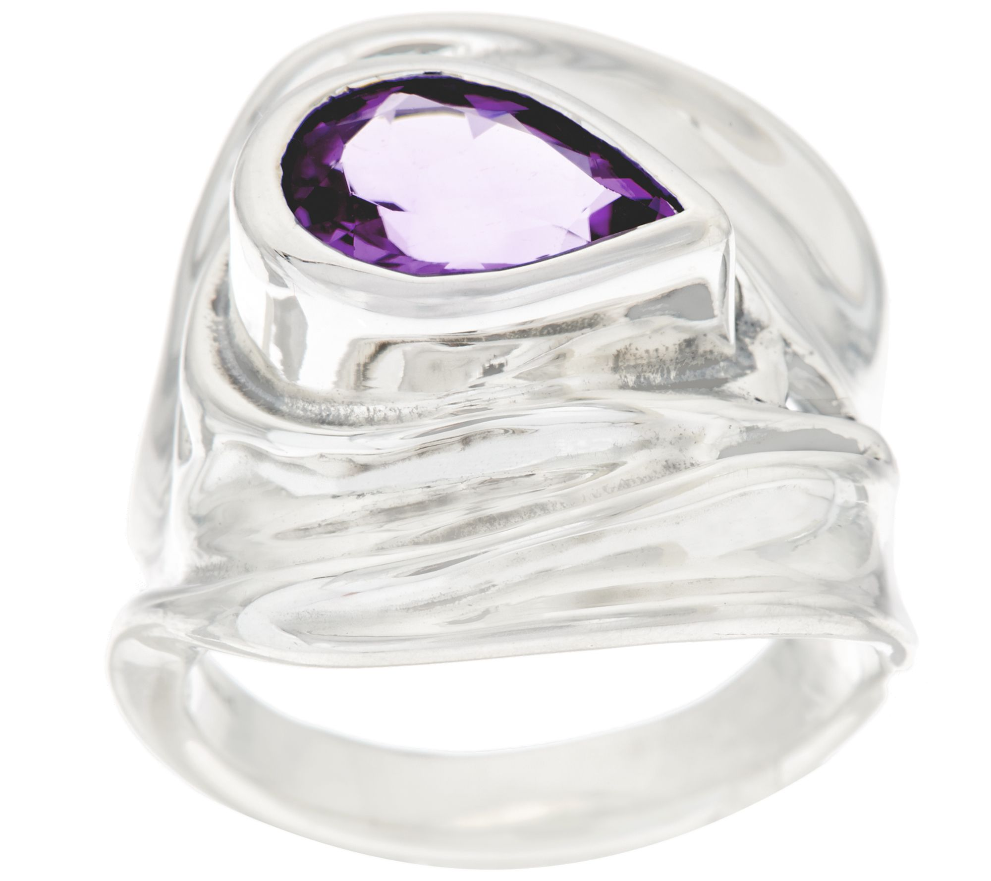 Hagit Sterling Silver 0.9 cttw Gemstone Sculptured Ring
