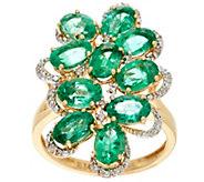 Zambian Emerald & Diamond Bold Elongated Ring 14K Gold 3.80 cttw - J329834
