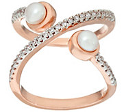 As Is Honora Cultured Pearl Crystal Open X Design Bronze Ring - J330634