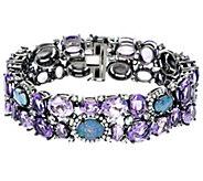 Graziela Gems Opal Triplet & Amethyst 6-3/4 Sterling Silver Bracelet - J330934