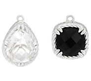 DeLatori Set of Two Sterling Onyx & Crystal Quartz Charms - J334434