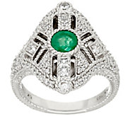 As Is Judith Ripka Sterling Gemstone & Diamonique Ring - J347234