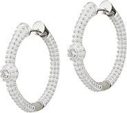 Lauren G Adams Silvertone Pave Hoop Earrings - J347734