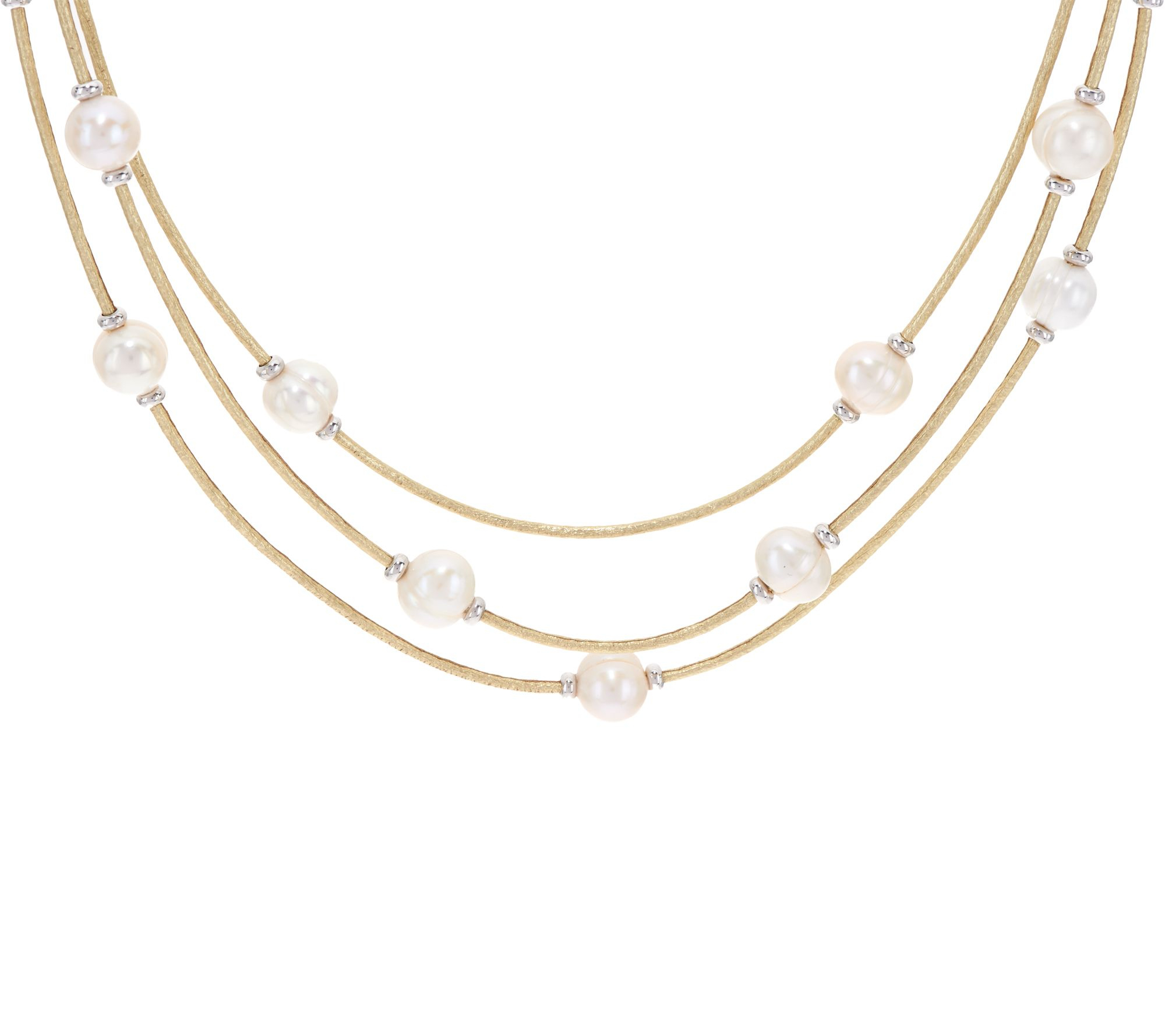 Honora Cultured Pearl Multistrand Faux Leather Necklace  J348534