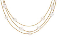 Honora Cultured Pearl Multi-Strand Faux Leather Necklace - J348534