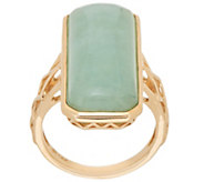 Burmese Jade Elongated Cocktail Ring 14K Gold - J349934