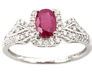 0.50 ct Ruby & 1/4 cttw Diamond Ring, 14K WhiteGold - J377034