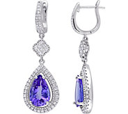 5.70 cttw Tanzanite & 9/10 cttw Diamond Teardrop Earrings, 14K - J377734