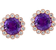 14K 2.50 cttw Amethyst & 1/4 cttw Diamond HaloStud Earrings - J377834
