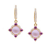 Judith Ripka 14K Mother-of-Pearl Doublet & Rhodolite Earrings - J379734