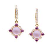 Judith Ripka 14K Mother-of-Pearl Doublet & Rhodolite Earrings - J379734