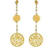 Italian Gold Disk Dangle Earrings 14K, 2.3g - J382234