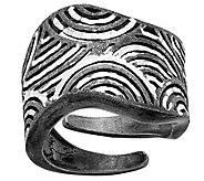 Italian Silver Ruthenium-plated Diamond-cut Adjustable Ring - J382734