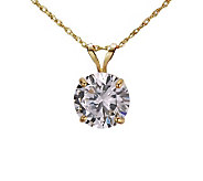 Diamonique 2.00 ct Round Solitaire Pendant w/Chain, 14K Gold - J105335
