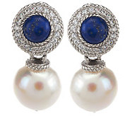 Judith Ripka Sterling Lapis and Baroque Cultured Pearl Drop Earrings - J274735