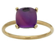 As Is Cushion Shaped Gemstone Cabochon Stack Ring, 14K Gold - J277035