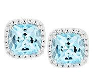 Judith Ripka Sterling 4.40ct Blue Topaz & Diamonique Button Earrings - J291935