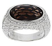 Judith Ripka Sterling Smoky Quartz Ring and Diamonique Ring - J292335