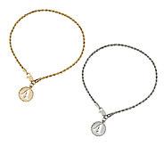 14K Gold Initial Charm Woven Rope Bracelet - J295935