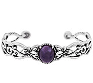 Carolyn Pollack Scroll Design Charoite Sterling Cuff - J296035