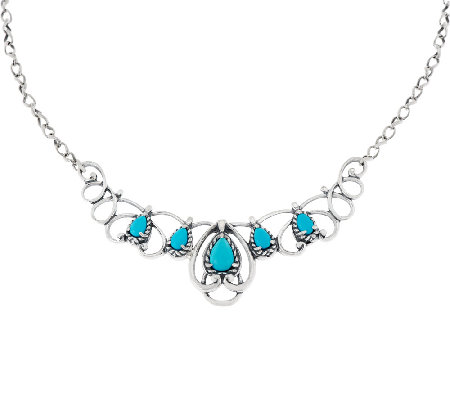 Carolyn Pollack Sleeping Beauty Turquoise Sterling Scroll Necklace —