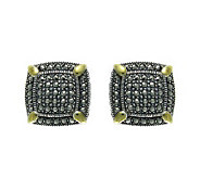 Suspicion Sterling Marcasite Bold Square Earrings - J304335