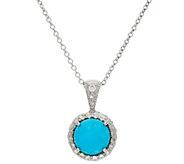 Sleeping Beauty Turquoise Diamond Cut Sterling Pendant w/Box - J317335