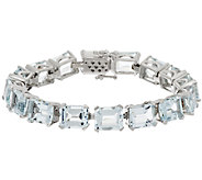 Emerald Cut Aquamarine Sterling 7-1/4 Tennis Bracelet 40.00 ct tw - J319135