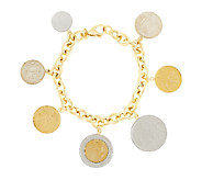 As Is Veronese 18K Clad 8 Lire Coin Charm Rolo Bracelet - J319335