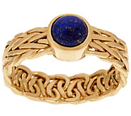 14K Gold Lapis Woven Wheat Design Ring - J319535