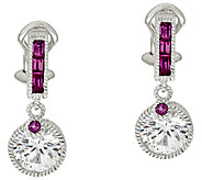 Judith Ripka Sterling Diamonique & Rhodolite Earrings - J319935