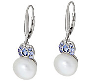 Honora Cultured Pearl 10.0mm Tanzanite Sterling Earrings - J320135