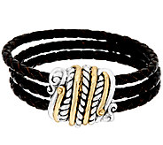 American West Sterling/Brass Magnetic Triple Row Leather Braceler - J321035