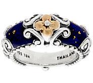 Barbara Bixby Sterling & 18K Blue Enamel Ring - J321435