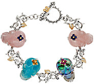Barbara Bixby Sterling & 18K Gemstone Skull 6-3/4 Bracelet - J323635